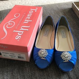 a3934f6149f2 Horizon Blue Touch Ups Patience peep toe wedges